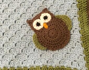 Owl Blanket, Crochet Owl Blanket, Crochet baby blanket, Stroller blanket, Car seat blanket, Baby Afghan, baby shower gift