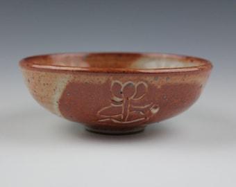Shino bowl No.3, Koi fish, Wheel-Throuwn and carved