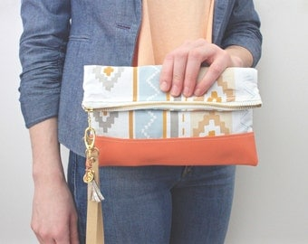 Aztec and Leather Fold over Clutch
