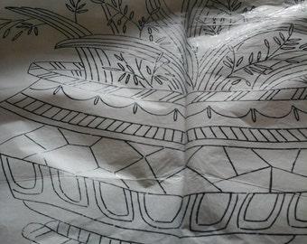 vintage hyacinth bowl embroidery transfer