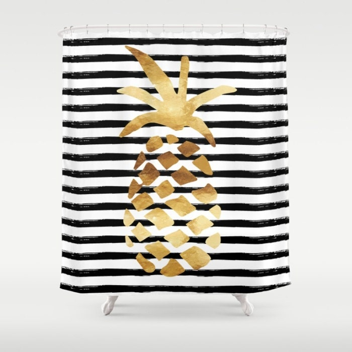 Shower curtain pineapple and stripes gold black and for Black and white striped bathroom accessories