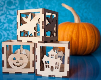 Fall Luminaries - tealight size, handmade wooden candle holders, fall decorations, home decor, halloween, votive display, haunted house, bat