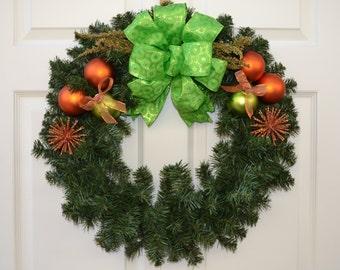 Orange and Lime Evergreen Wreath