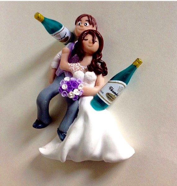 Wedding Cake Topper Drunk Bride And Groom By Acecharacters