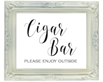 Cigar Bar wedding & reception sign, Digital sign, Printable Wedding Sign, Cigar Favor Sign, Bachelor Party Sign, Instant Download, 8x10