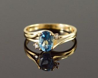 14K 0.70 CTW Blue Topaz Diamond Ring Size 6 Yellow Gold