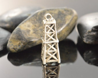 Silver Oil Tower Charm Charms 25x9mm - 3.4g - ES857