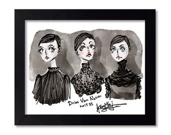DRIES VAN NOTEN - Fashion Illustration Print Fashion Print Fashion Art Fashion Wall Art Fashion Poster Fashion Sketch Illustration Art Print