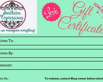 GIFT CERTIFICATE, Gift Card, Any Amount, Valentine's Day Gift, Birthday Gift