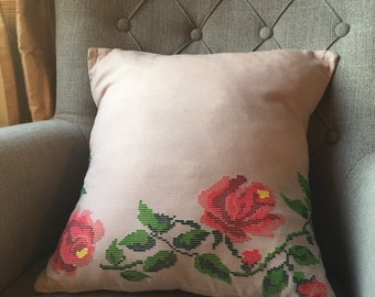 Cream Off white floral embroidered Cushion