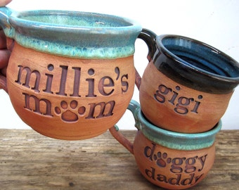 CUSTOM Pottery Mug, Personalized Mug, Dog Lovers Mug, Dog Rescue Mug, Bulldog Mom Mug, Handmade Pottery Mug