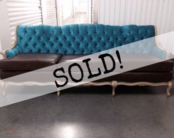 SOLD! Vintage 1940's Reuphostered Hollywood Couch ... Free NYC Delivery ... US Shipping