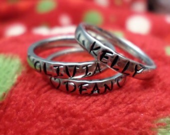 Stainless Steel Stacking Rings - Personalized Name Rings