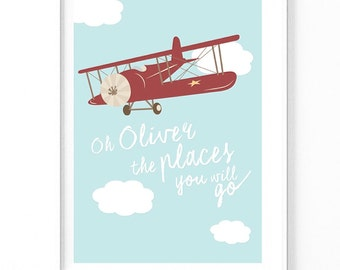 Personalised Oh the places you will go Aeroplane nursery print