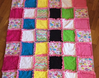 Barbie-inspired Rag Quilt with matching Pillowcase