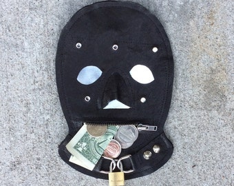 genuine cowhide leather gimp mask card holder / coin purse