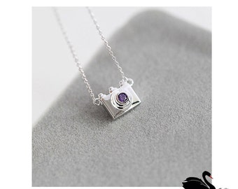 Born to be loved. Sterling silver necklace. I lomo you. camera