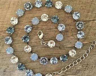 Swarovski Crystal 8mm Necklace Pale Blue Floral