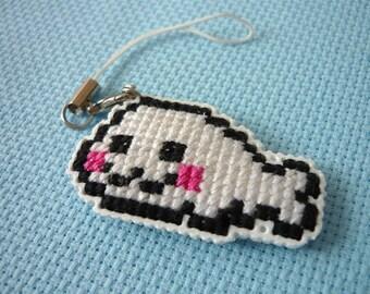 Cross stitch phone charm - kawaii seal, gift for teens, cute keychain, kawaii charm, cute phone dangle, Dust Plug, Earphone Plug