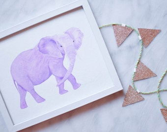 Purple Elephant Print - 8x10