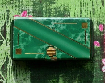 Vintage Princess Art Deco Carry All Multi Powder Compact Cigarette Case Green Enamel Japanese
