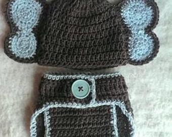 crochet elephant hat, crochet elephant diaper cover, baby boy, baby girl