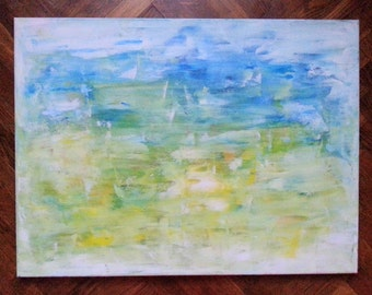 Big Canvas Original Acrylic Abstract Painting Shades Of Blue 60 x 90 cm (23.6 x 31.4 in)
