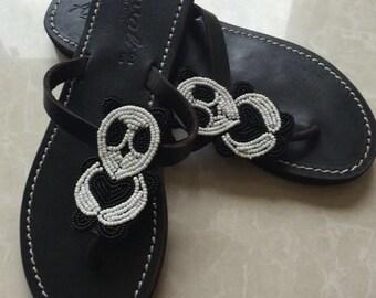 Panda flip flops - bear sandals - handmade shoes