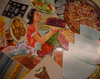31 Piece Ephemera Pack Retro Vintage Kitchen Theme Vintage and Newer Repro. Images Collage Mixed Media Altered Art