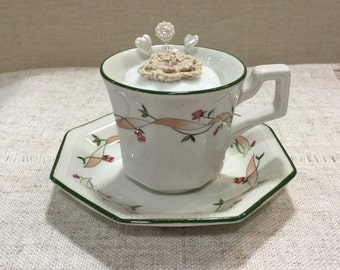 Art Nouveau style teacup pincushion  /  vintage china / sewing accessories / handmade pincushion