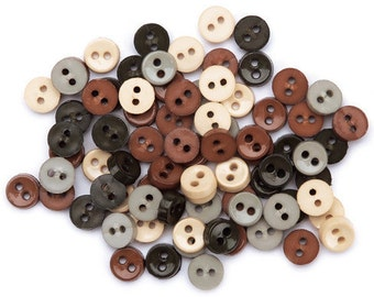SET of 80 tiny Mini Round Button Shades of Fall Tiny Rounds 2 hole