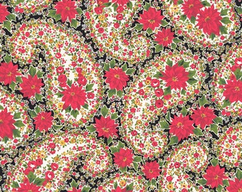 Poinsettia Christmas Paisley Andover Cotton Quilt Fabric      By the Yard