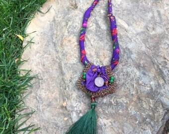 Colorful thin cotton, turkish yemeni , authentic necklace