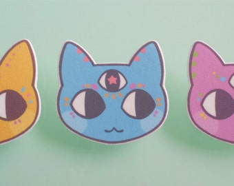 Cat brooch pin - Magical three eyed cats - cat jewelry