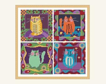 4 small cats cross stitch pattern