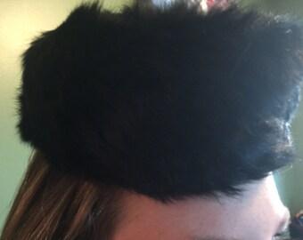 Vintage Rabbit Fur Pillbox Hat made in New York