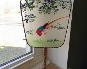 Vintage Hand Painted Silk Screen Fan