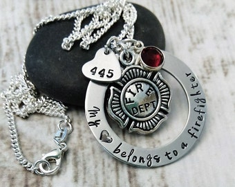 Firefighter Necklace, Firefighter Wife Necklace, Firefighter Girlfriend Necklace, Firefighter Jewelry, Fireman Wife Jewelry,Fireman Necklace
