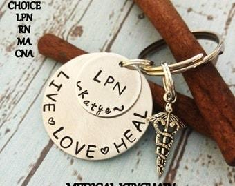 Personalized LPN Keychain,Nurse's Key Chain,Nurse Keychain,LPN Gift,Nurse's Graduating Gift,Graduating Nurse Gift,Hand Stamped Keychain