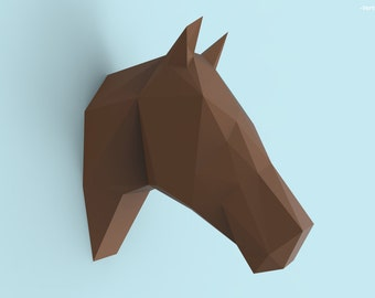 Horse Head Papercraft PDF Pack - 3D Paper Sculpture Template with Instructions - DIY Wall Decoration - Animal Trophy