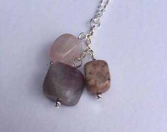 Gemstone trio necklace