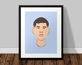 John Stones Manchester City Illustrated Poster Print | A6 A5 A4 A3
