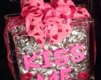 Personalized Glass Block - to fill with candy