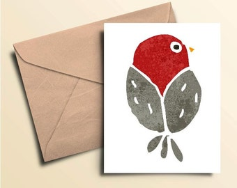 Red Bird Note Cards - Set of 10 With Envelopes