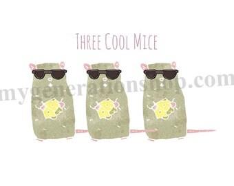 Three Cool Mice Little Ones Print