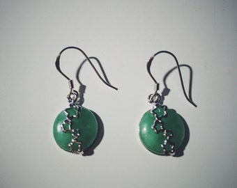 Round jade fish-hook earrings with simple silver decorations, jade jewelry, Chinese jade-silver jewelry, jade-silver earrings