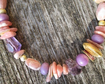 Rhodochrosite Necklace with Phosphosiderite and Amethyst