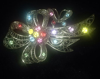 Butterfly & Bow Rhinestone Brooch