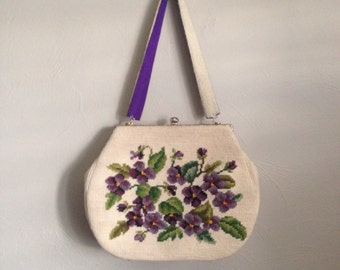 1950's  Hand Stitched Pansies Handbag