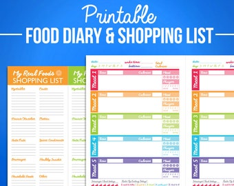 Printable Food Journal Diet Diary Calorie Counter Colorful Digital A5 / Half Letter PDF Designs & Shopping List